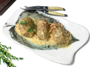 Ukrainian stuffed beef and pork cabbage-rolls