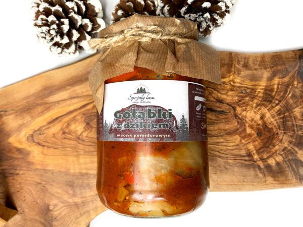 Gołąbki z dzikiem w sosie pomidorowym